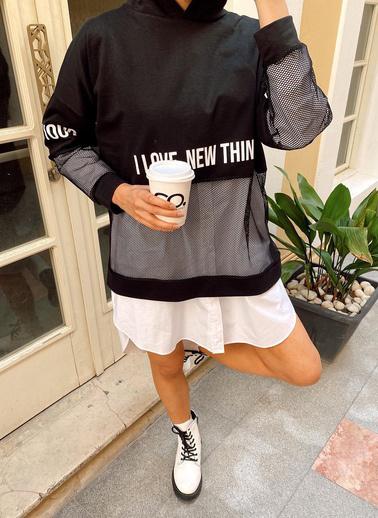 XHAN Siyah File Detaylı Baskılı Tunik Boy Sweatshirt 1Kxk8-44203-02 Siyah